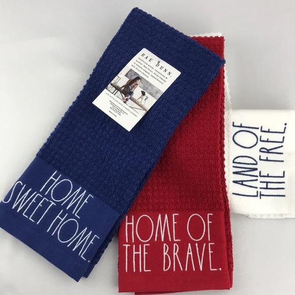 Rae Dunn,  Patriotic set of 3 dish towels. NWT